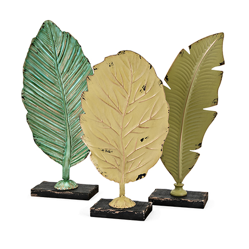 Cora Leaf Statuaries - Set of 3 in Green Multi-Colors