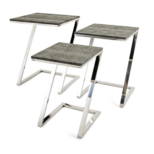 Melora Stainless Steel Tables, Set of 3
