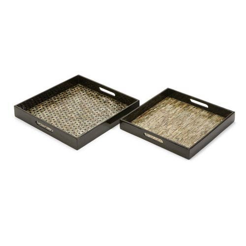 IMAX Jacobs Mother of Pearl Serving Trays - Set of Two