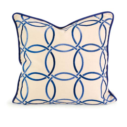 IMAX IK Catina Blue Embroidered Linen Pillow w/ Down Fill
