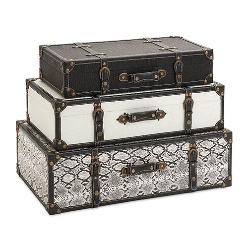 Aberdeen Black and White Storage Trunk, Set of Three