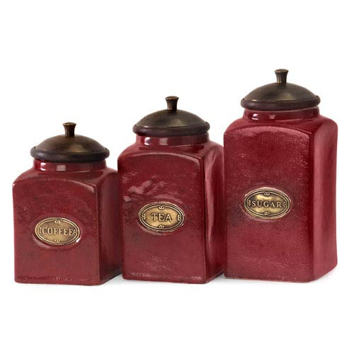 Red Ceramic Canisters - Set of Three