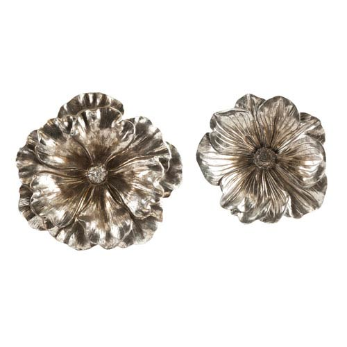 Natalia Silver Flowers, Set of Two