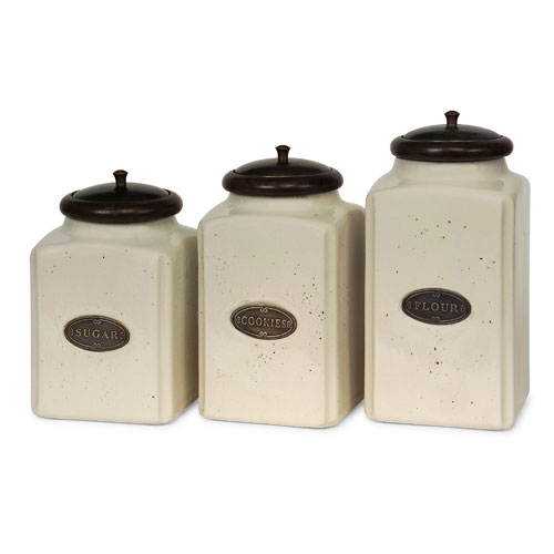 Ivory Canisters - Set of Three