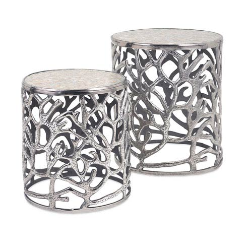IMAX Daltry Silver Coastal Tables, Set of Two