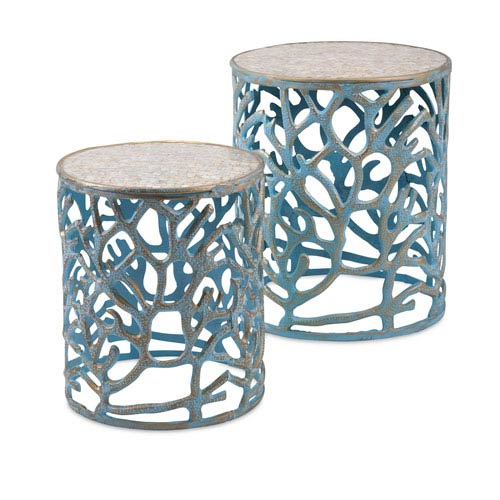 Coral Mother of Pearl Tables  Set of 2