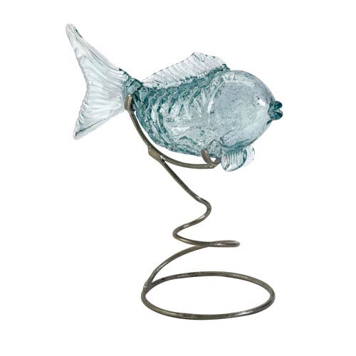 IMAX Pisces Glass Fish Statuary on Metal Stand