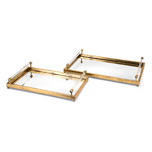 Carter Metal and Acrylic Decorative Trays, Set of 2