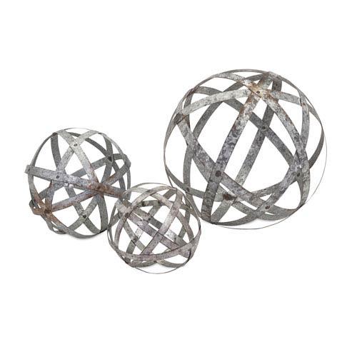 Demi Grey Galvanized Spheres, Set of Three