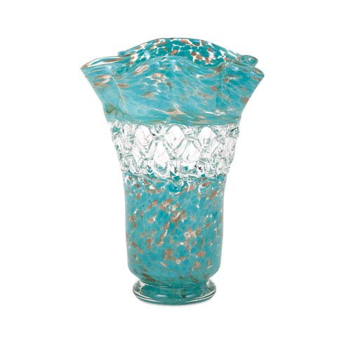 IMAX Ithaca Blue Web Glass Vase