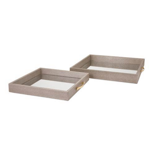 BAK Home Grey Mirrored Trays, Set of Two