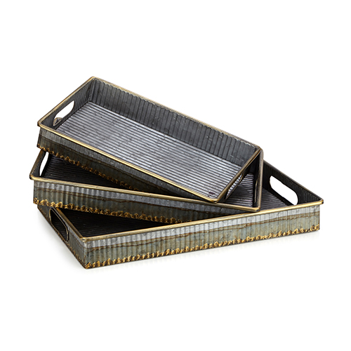 Saunders Gray Tray, Set of 3