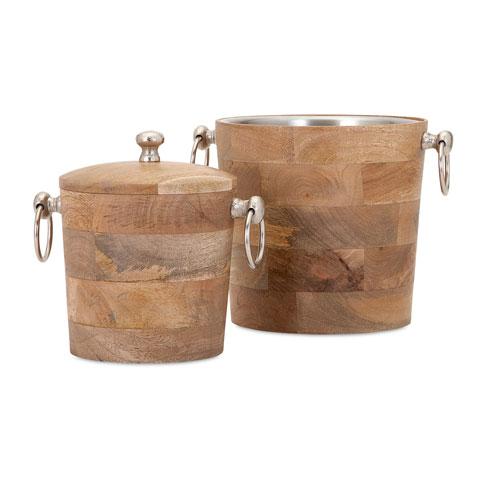 Makana Brown Wood Bar Buckets, Set of Two