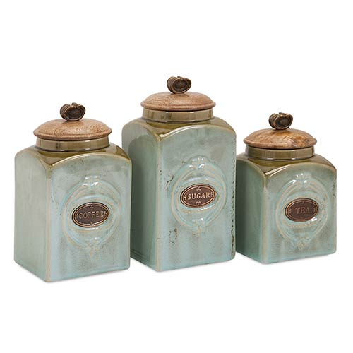 Teal and Copper Addison Ceramic Canister, Set of Three