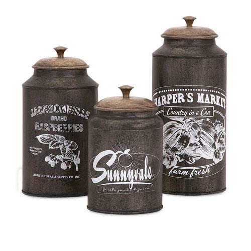 IMAX Darby Brown Metal Canisters, Set of Three