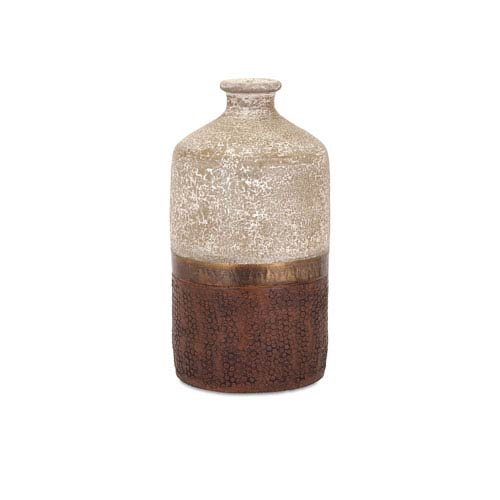 Sabah Beige and Bronze Small Terra Cotta Vase