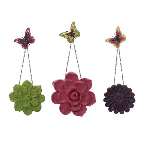 IMAX Guzman Multicolor Wall Flowers with Chain, Set of Three