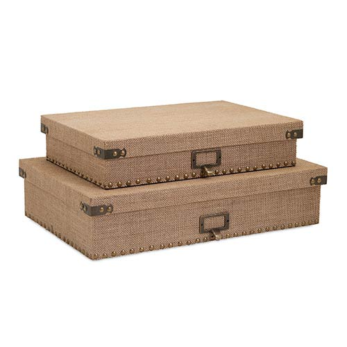 IMAX Corbin Tan Document Boxes, Set of Two