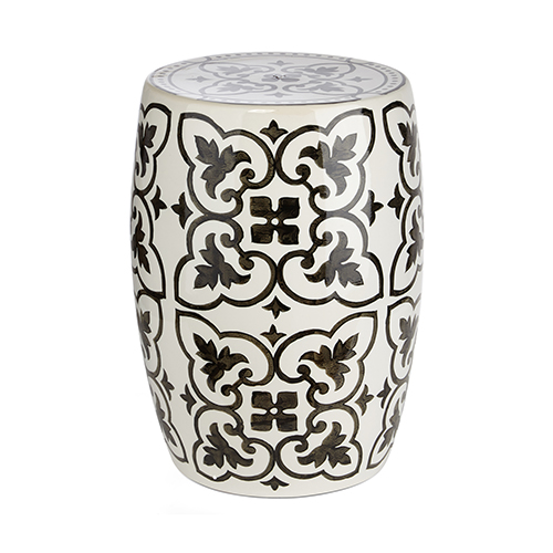 Gertrude White and Black Garden Stool