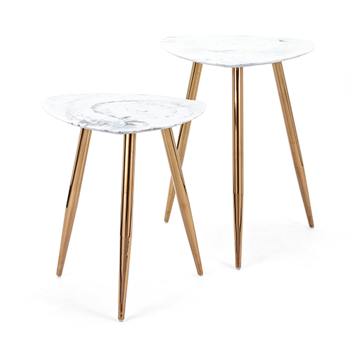 Presto White and Gold Accent Table, Set of 2