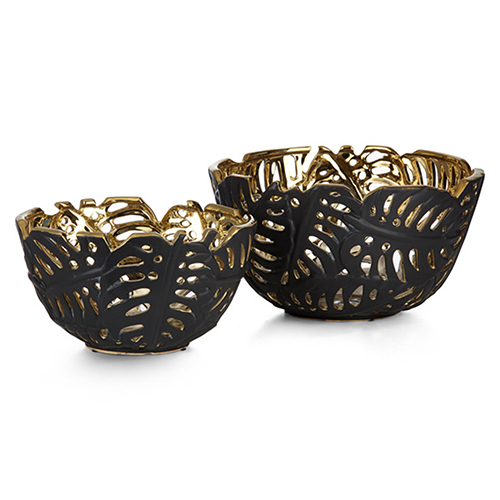 Palm Leaf Black Cutwork Bowl, Set of 2