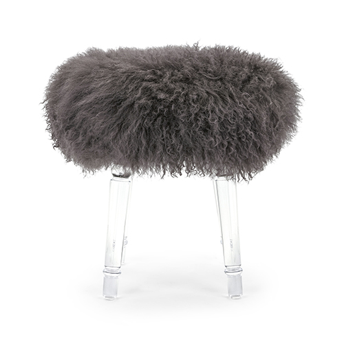 Airell Gray Tibetan Fur and Acrylic Stool
