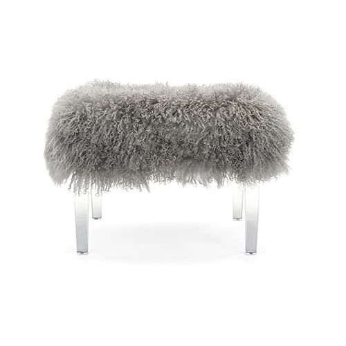 Brietta Gray Tibetan Fur and Acrylic Bench
