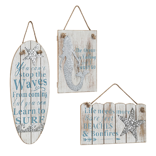 Imax Rita White And Blue Wall Plaques Set Of 3