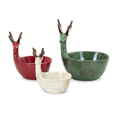 Homestead Reindeer Dish, Set of 3
