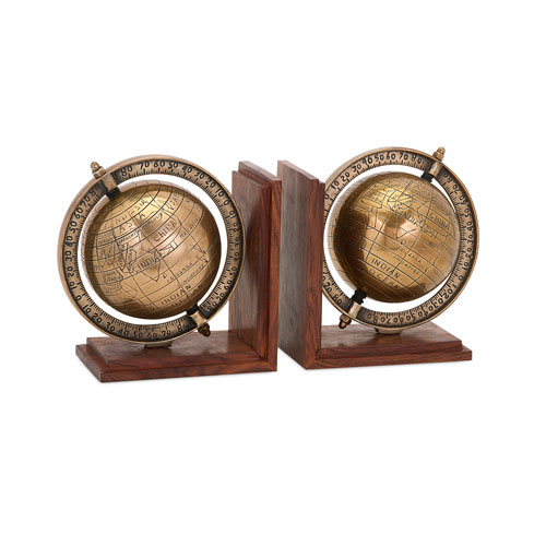 BAK Home Brown Globe Bookends, Set of Two