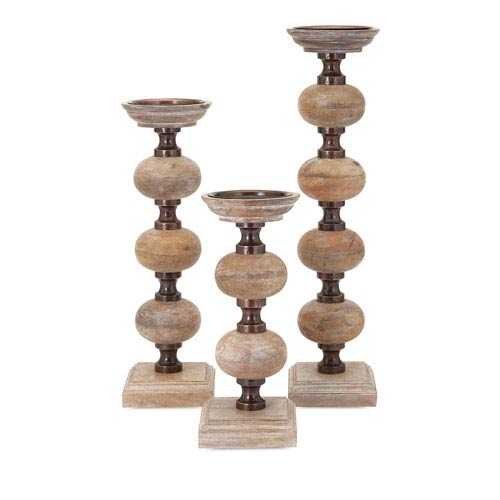 Nahla Brown Wood Candle Sticks, Set of Three