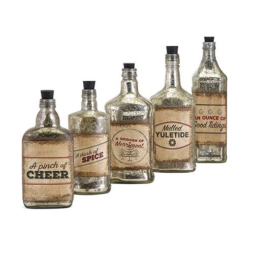 Homestead Gold Vintage Label Glass Bottle, Set of 5