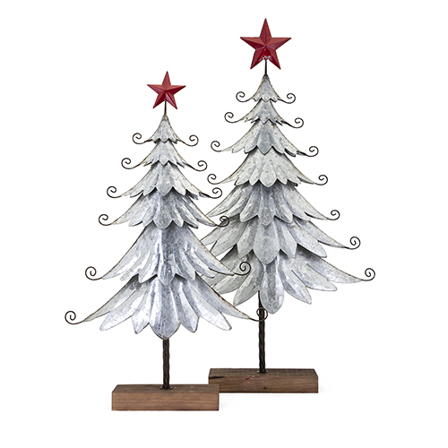 Homestead Silver Galvanized Tree, Set of 2