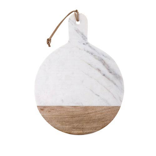 Peyton White and Brown Marble and Wood Cheese Board
