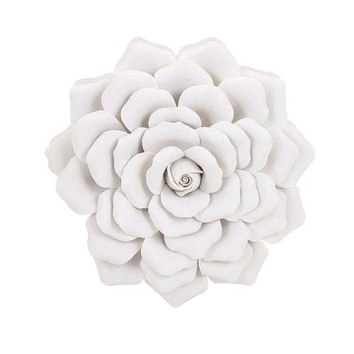 White porcelain wall decor bellacor imax evington white medium porcelain wall flower mightylinksfo