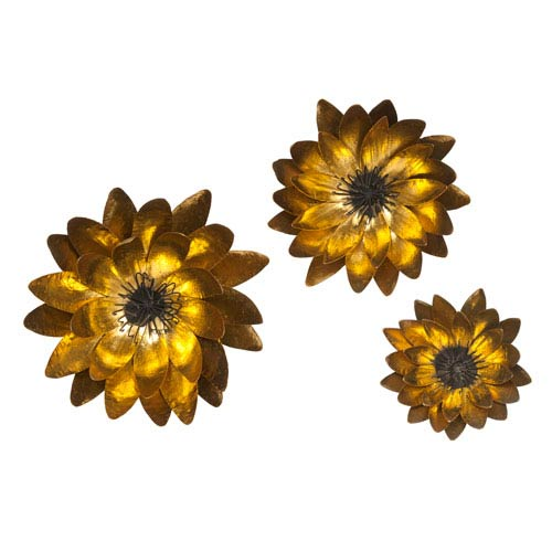 IMAX Evelyn Gold Wall Flowers, Set of Three
