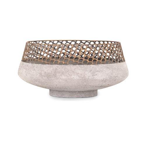 Rowan Gold And Grey Metal Bowl