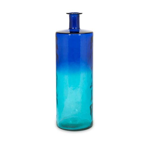IMAX Luzon Blue Tall Oversized Recycled Glass Vase