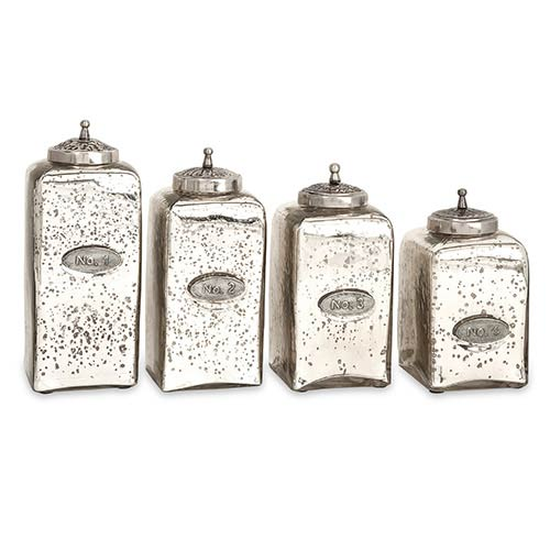 Numbered Pewter and Brushed Nickel Mercury Glass Jar with Lid, Set of Four