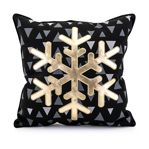 Snow Crystal Pillow in Black