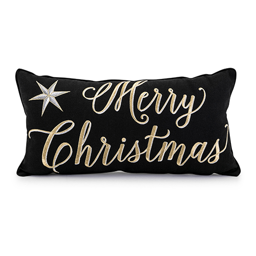 imax merry christmas pillow in black