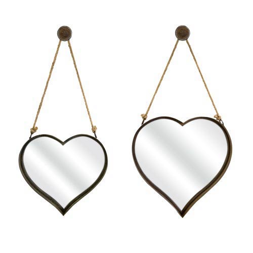 IMAX Heart Shape Wall Mirror - Set of Two