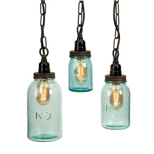 IMAX Lexington Mason Jar Pendant Lights   Set Of Three