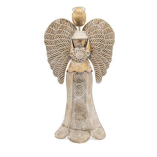 Seraphina Antique Gold Large Angel Candleholder