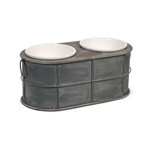 Casoria Grey Pet Feeder with Ceramic Bowls