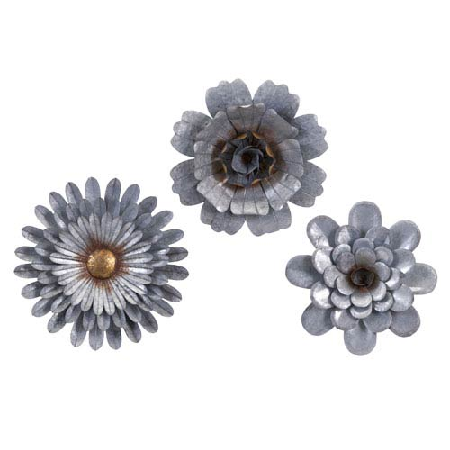 IMAX Hillary Galvanized Wall Flowers , Set of 3