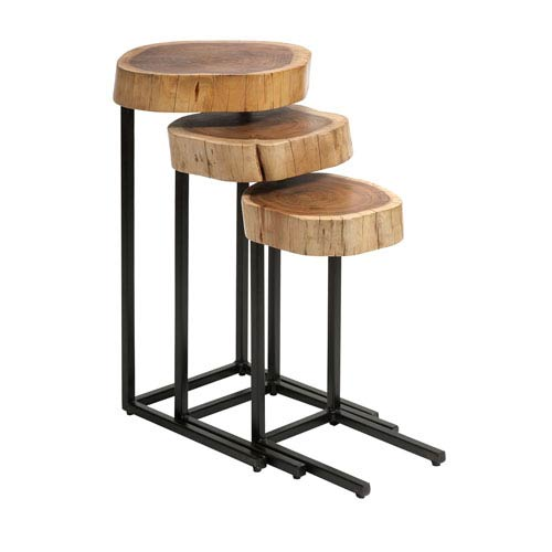 Nadera Wood and Iron Nesting Tables - Set of 3