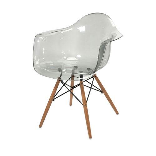 Beckett Grey Transparent Chair with Wood Legs