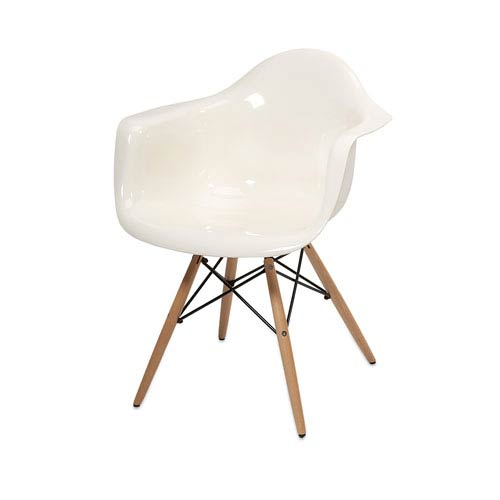 Arturo White Acrylic Chair with Wood Legs