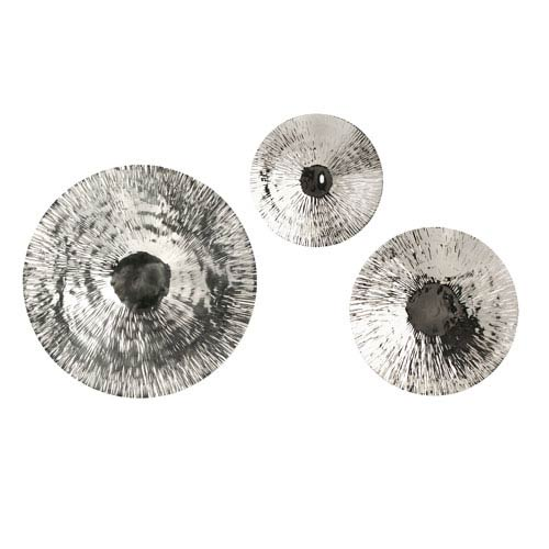 IMAX Fassett Silver Oversized Disc, Set of Three